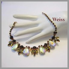 WEISS Bold Beautiful Brilliant HEADLIGHT Rhinestones Necklace