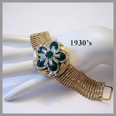 1930's Deco CAPTIVATING Emerald & Diamond-Like Rhinestone Bracelet