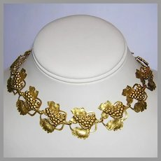 1920's ART NOUVEAU / Deco Superb Grape Design GILDED / Gilt Necklace