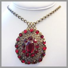 1920's ART DECO Ruby Red Rhinestones & BRASS Sizzling Matinee Length Necklace