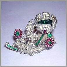 1920's Remarkable Bejeweled TREMBLER Pin With Colorful Rhinestones & BAGUETTES