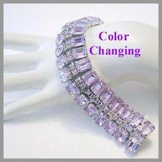 1960's Opulent ALEXANDRITE Color Changing RHINESTONES Wide Bracelet