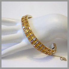 1930's / 40's SQUARE Invisibly Set CITRUS Rhinestones BRILLIANT 2 Row Bracelet