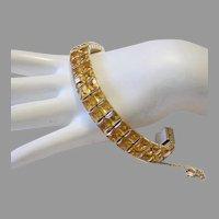 1930's / 40's SQUARE Invisibly Set CITRUS Rhinestones BRILLIANT 2 Row Bracelet