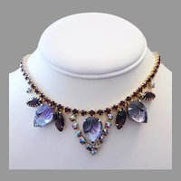 1960's CARVED Shades of PURPLE Glass & Rhinestones Necklace
