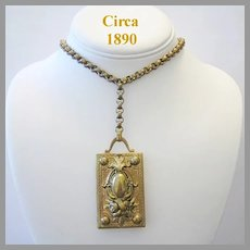 Circa 1890 Bold VICTORIAN Impressive Ornate LOCKET Necklace