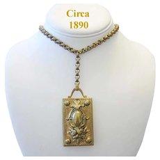 Circa 1890 Bold VICTORIAN Impressive Ornate LOCKET Necklace