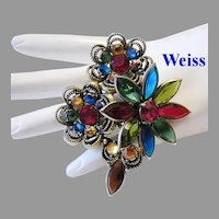 WEISS Rarely Seen Dimensional COLORFUL Rhinestones STAINED GLASS Look Pin/ Brooch
