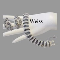WEISS Seldom Seen BLACK DIAMOND Rhinestone & Icing OVERLAYS Bracelet + Earrings