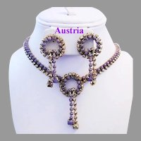 1960's AUSTRIA Purple Glass & Mirrored GOLD Rhinestones Necklace & Earrings