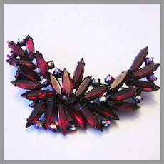 1960's Gorgeous GARNET Red Slim Navette RHINESTONES Japanned Pin / Brooch
