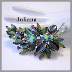 JULIANA Large Book Piece Scooped Out OVAL Stones & RHINESTONES Pin / Brooch
