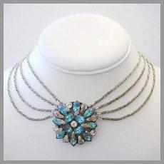 1920's / 1930's Nouveau AQUAMARINE Rhinestones 4 Strand  Fabulous FESTOON Necklace