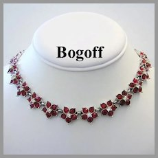 1950's BOGOFF Signed Radiant RED Rhinestones Necklace