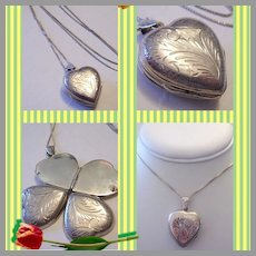 1970's STERLING Silver Heart LOCKET Opens To A 4 Leaf Clover