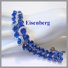 EISENBERG Exquisite Electric BLUE Rhinestones With ICING Overlays