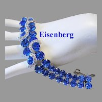 EISENBERG Exquisite Electric BLUE Rhinestones With ICING Overlays