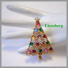 EISENBERG Enchanting CHRISTMAS Tree Pin / Brooch With Colorful VAUXHALL Rhinestones