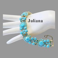 JULIANA Rarely Seen TURQUOISE Opaque Rhinestones & TEAL Chatons Dazzling Bracelet