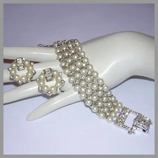 1960's LUSTROUS Faux Pearls BAGUETTES & Rhinestones Bracelet & Earrings