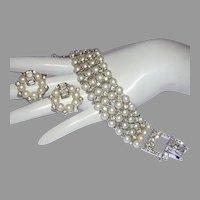 1960's LUSTROUS Faux Pearls BAGUETTES & Rhinestones Bracelet & Earrings