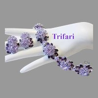1961 TRIFARI Contessa Shades Of  PURPLE / AMETHYST Rhinestones Bracelet & Earrings