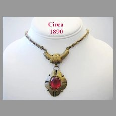 VICTORIAN Circa 1890 BRASS & Red Stone Dangling Necklace
