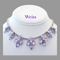 WEISS Color Changing ALEXANDRITE Rhinestones & Baguettes Necklace