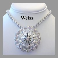 WEISS Beyond Brilliant PEAR Shape RHINESTONES Tiered Pin / Brooch
