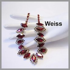 WEISS Rarely Seen Regal RED Rhinestones & Halo's Necklace