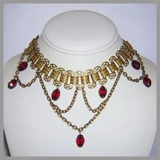 1920's Art Deco Ruby RED Crystals Brass Book Chain FESTOON Necklace