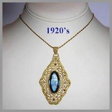 1920's ART DECO Ornate Sapphire GLASS Long Necklace