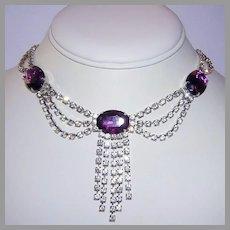 1960's Sparkling PURPLE / Amethyst & Diamond Like Rhinestones FESTOON Tassel Necklace