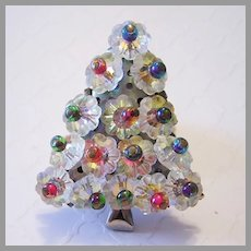 1950's MARGARITA Crystals & Colorful Givre GLASS Christmas Tree PIN / Brooch