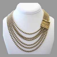 1930's VICTORIAN Revival Fabulous Wide 6 Strand BRASS Ball Chain BIB Necklace