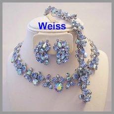 WEISS Beyond Brilliant HEAVENLY Blue Rhinestones Necklace Bracelet Earrings PARURE