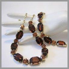 1940's / 50's COGNAC Rhinestones & TOPAZ Glass Necklace & Earrings