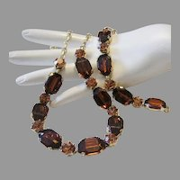 1940's / 50's COGNAC Rhinestones & TOPAZ Glass Necklace & Earrings