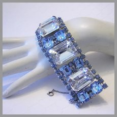1960's RUNWAY Wide Bold SHOW STOPPING Lavish Rhinestone Bracelet