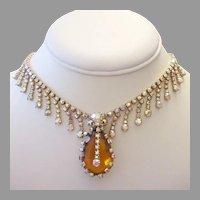 1960's RUNWAY Exquisite Amber GLASS & Dazzling Rhinestones DRIPPY Necklace