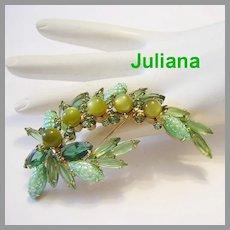 JULIANA Book Piece CARVED Glass / Corn Kernel & Rhinestones Shades of GREEN Pin / Brooch