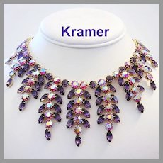 KRAMER Haute Couture Lavish PURPLE & Pink / Red Rhinestones DRIPPY Bib Necklace