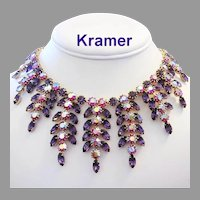 KRAMER Haute Couture Lavish PURPLE & Pink / Red Rhinestones DRIPPY Bib Necklace