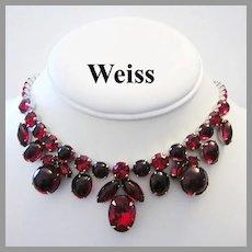 WEISS Ravishing Red GLASS & Rhinestones CAPTIVATING Necklace