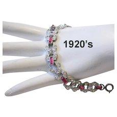 1920's ART DECO Channel Set Pink Baguettes & PASTE Rhinestones Bracelet