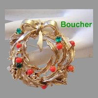 MARCEL BOUCHER Extremely Rare Detailed CHRISTMAS Wreath Pin / Brooch SIGNED & Numbered