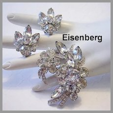 EISENBERG Brilliant Rhinestones DIMENSIONAL Pin & Earrings