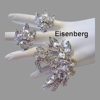 EISENBERG Brilliant Rhinestones DIMENSIONAL Pin & Earrings