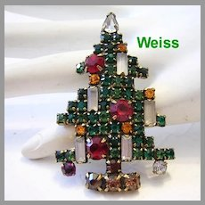 WEISS Iconic 5 Candle Rhinestone Christmas Tree Pin / Brooch