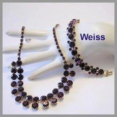 WEISS Seldom Seen PURPLE / Amethyst Rhinestones SHOWY Necklace & Bracelet